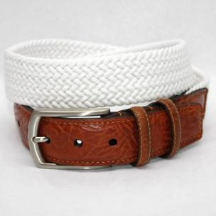 Torino Leather Big & Tall Italian Woven Cotton Elastic Belt - White Image