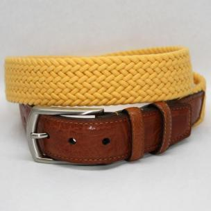 Torino Leather Italian Woven Cotton Elastic Belt - Yellow Image