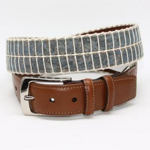 Torino Leather Italian Woven Cork & Waxed Cotton Belt - Blue/Cream Image