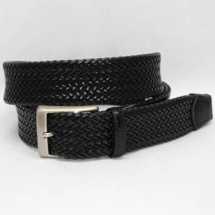 Torino Leather Italian Woven Tubular Calf Belt with Lizard Tabs - Black Image