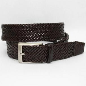 Torino Leather Italian Woven Tubular Calf Belt with Lizard Tabs - Brown Image