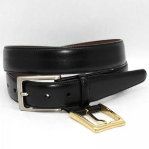 Torino Leather Kipskin Belt Double Buckle Option - Black Image