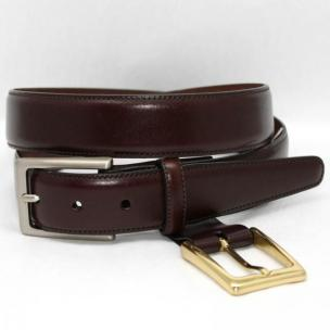 Torino Leather Kipskin Belt Double Buckle Option - Cordovan Image