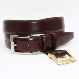 Torino Leather Krinkle Calf Aniline Leather Belt - Brown Image
