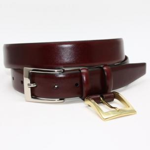 Torino Leather Krinkle Calf Aniline Leather Belt - Cordovan Image