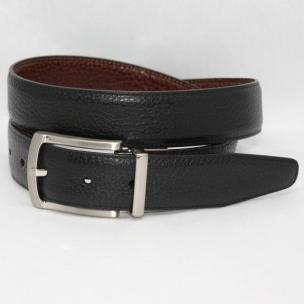 Torino Leather Pebble/Burnished Veal Reversible Belt - Black/Brown Image