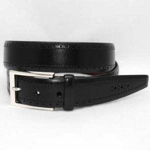 Torino Leather Big & Tall Perfed Italian Veal Belt - Black Image