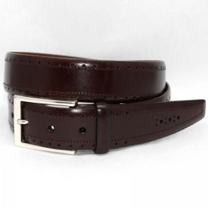 Torino Leather Big & Tall Perfed Italian Veal Belt - Brown Image