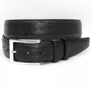 Torino Leather South African Ostrich Quilled Belt - Black Image