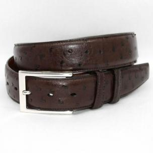 Torino Leather South African Ostrich Quilled Belt - Brown Image
