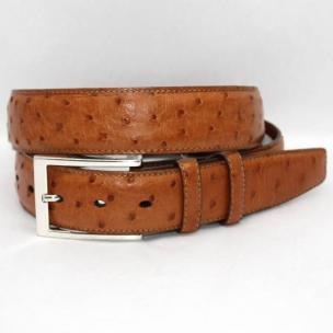Torino Leather South African Ostrich Quilled Belt - Saddle Image