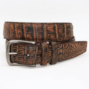 Torino Leather Sueded Zimbabwe Nile Crocodile Belt - Brown Image