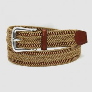 Torino Leather Woven Italian Rayon Over Kipskin Belt - Camel Image
