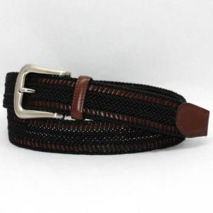 Torino Leather Woven Italian Rayon Over Kipskin Belt - Black Image