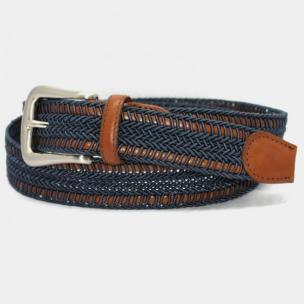 Torino Leather Woven Italian Rayon Over Kipskin Belt - Denim Image