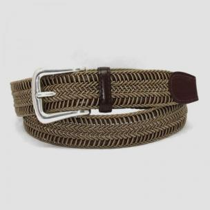 Torino Leather Woven Italian Rayon Over Kipskin Belt - Khaki Image