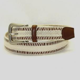 Torino Leather Woven Italian Rayon Over Kipskin Belt - Cream Image