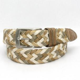 Torino Leather Woven Wax Cotton Belt Caiman Tabs - Taupe/Multi Image