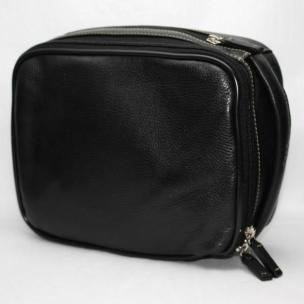 Torino Leather Zip Travel Kit in Tumbled Leather - Black Image