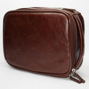 Torino Leather Zip Travel Kit in Tumbled Leather - Burnished Brown Image