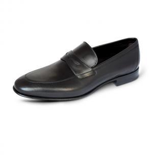A. Testoni Apron Toe Penny Loafers Black Image
