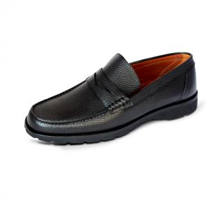 A. Testoni Pebble Grain Loafers Black Image