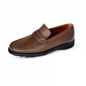 A. Testoni Pebble Grain Loafers Brown Image