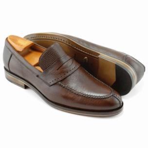 Alan Payne Carr Deerskin Penny Loafers Almond Image