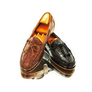 Alan Payne Gino Twist Tie Crocodile Loafers Image