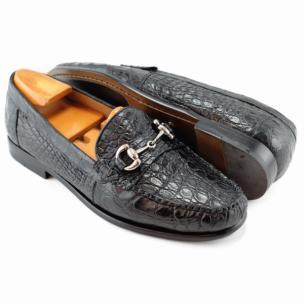 Alan Payne Mauricio Crocodile Bit Loafers Black Image