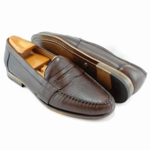 Alan Payne Wellesley Deerskin Penny Loafers Almond Image