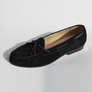 Alan Payne Vino Suede Twist Tie Loafers Black Image
