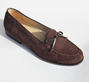 Alan Payne Vino Suede Twist Tie Loafers Brown Image