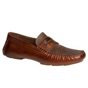 Bacco Bucci Albatros Calfskin & Suede Driving Shoes Brown Image