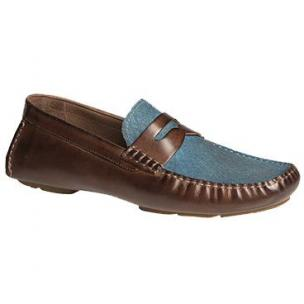 Bacco Bucci Albatros Calfskin & Suede Driving Shoes Tan / Blue Image