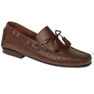 Bacco Bucci Arena Grain Calfskin Twist Tie Loafers Cognac Image