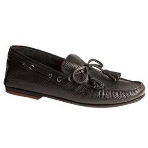 Bacco Bucci Arena Grain Calfskin Twist Tie Loafers Black Image