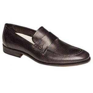 Bacco Bucci Bardelli Perforated Strap Loafers Black Image