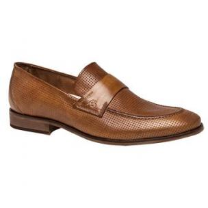 Bacco Bucci Bardelli Perforated Strap Loafers Tan Image