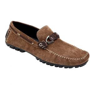 Bacco Bucci Flavio Suede Bit Driving Shoes Brown Image