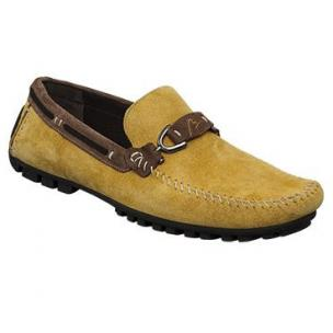Bacco Bucci Flavio Suede Bit Driving Shoes Mustard / Brown Image