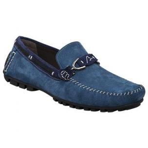 Bacco Bucci Flavio Suede Bit Driving Shoes Royal Blue / Navy Image