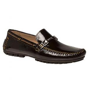 Bacco Bucci Gallo Shiny Calfskin Bit Driving Loafers Brown / Orange Image
