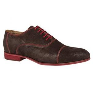 Bacco Bucci Orsino Suede Cap Toe Shoes Dark Brown Image