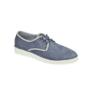 Bacco Bucci Tola Perforated Suede Shoes Blue Image