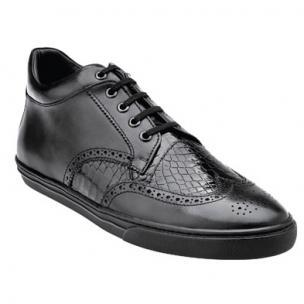 Belvedere Adriano Alligator & Calfskin Wingtip Sneakers Black Image
