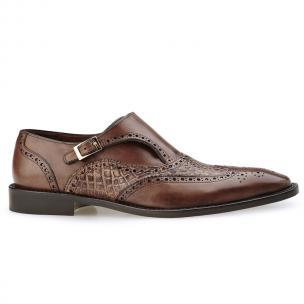 Belvedere Aldo Alligator & Calfskin Wingtip Monk Strap Shoes Antique Maple Image