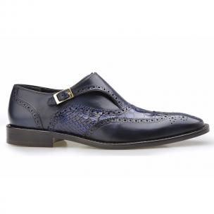 Belvedere Aldo Alligator & Calfskin Wingtip Monk Strap Shoes Antique Navy Image