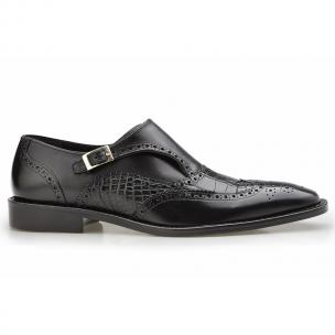 Belvedere Aldo Alligator & Calfskin Wingtip Monk Strap Shoes Black Image