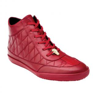 Belvedere Alessio Crocodile & Calfskin Hi Top Sneakers Red Image